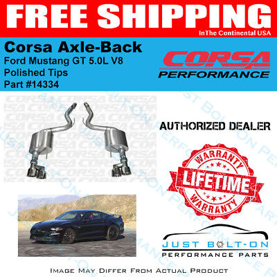 CORSA SPORT Axle-Back Polished Tips 2015-2017 Mustang GT Fastback 5.0L 14334