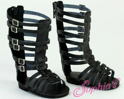 """Doll Clothes Tall Black Gladiator Sandals For 18"""" American Girl Shoes Accessory"""