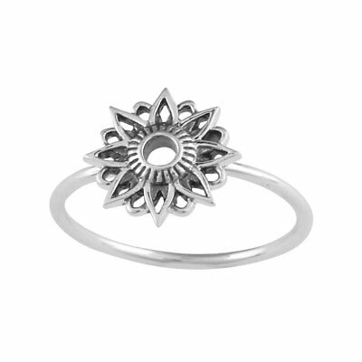 Boho Jewellery Sterling Silver Sun Pattern Flower Beaded Band Stacking Ring
