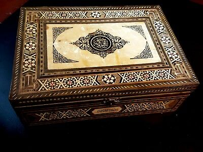 Old Antique. Middle  Eastern Jewellery Seashell Wooden  Inlaid Box