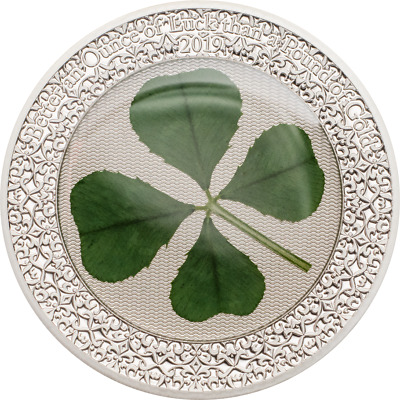 2019 $5 Palau 1 oz Sterling Silver Coin-REAL 4-LEAF CLOVER - St. Patrick's Day