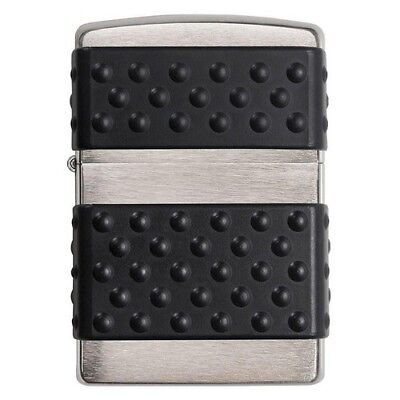 Zippo 200ZP Black Zip Guard Windproof Brushed Chrome Classic Lighter