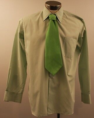 New Large Mens Green Original Vintage Long Sleeve Shirt With Tie.