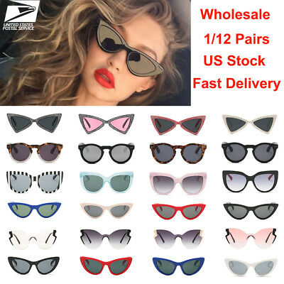 Fashion Women Cat Eye Sunglasses Small Vintage Glasses Eyewear Wholesale A Dozen