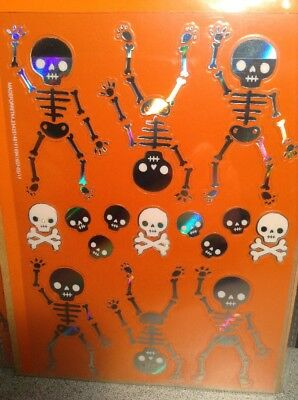 Skeleton Skull HOLOGRAPHIC HALLOWEEN STICKERS SET Lot OF 2 Packs = 60 STICKERS