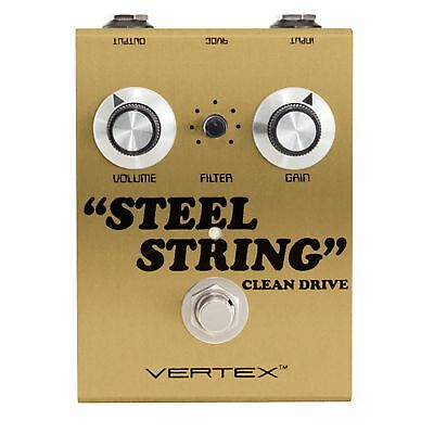Vertex Steel String Clean Drive True Bypass Guitar Effects Pedal GOLD version
