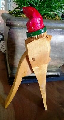 Vtg Hand Carved Wood Nutcracker Swedish Norsk Tomte Elf Gnome Christmas Folk Art