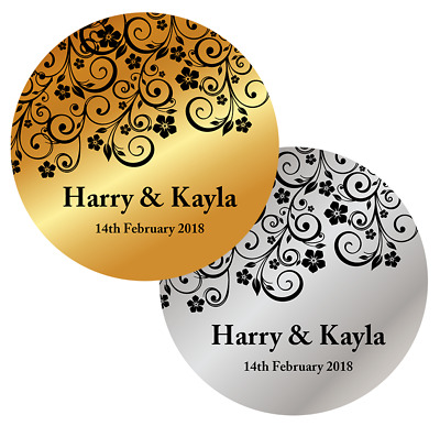 Personalised Wedding Favours Stickers Metallic Gold Silver Labels Names Floral