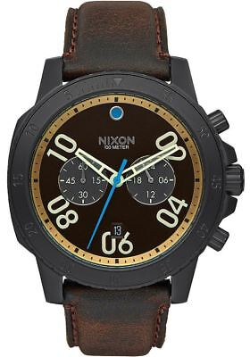 NEW Nixon Ranger Chrono Leather All Black/Brown/Brass | AUTHORIZED DEALER