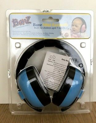 Banz Blue Baby Toddler Mini Earmuffs 3+ Months Hearing Protection NIP