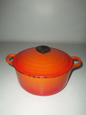 "Le Creuset Cast Iron ""d"" 3 1/2 Qt Round Dutch Oven With Lid Made In France 9"" Di"
