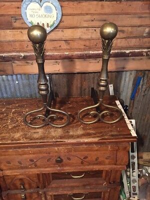 Brass Fireplace Andirons Canon Ball Pineapple Decoration