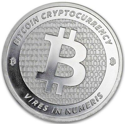Silver Bitcoin: 1 Troy Oz .999 Pure, Solid, Silver, Commemorative Art-Round New