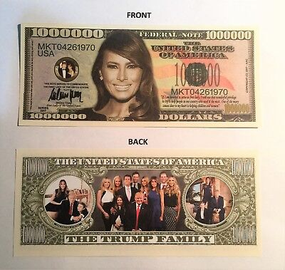 Melania Trump (First Lady) Trump Family Rare $1,000,000 Novelty Note, Great Gift