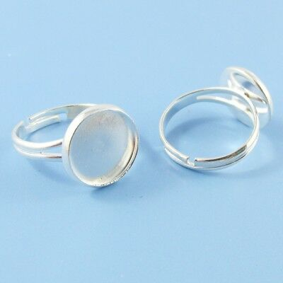 Bulk 10pce DIY Adjustable Ring Base with 12mm Cabochon Setting17mm Dia SP Brass