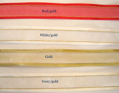 Organza Ribbon with silver satin edge.  Red,White, Ivory Gold. Sold by the meter
