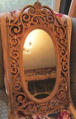 Vintage Oval Syroco Gold Ornate Wall Mirror Mid Century 31'' x 17''