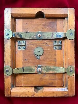 Antique Wood (Oak?) Contact Printer Frame with Brass Hardware