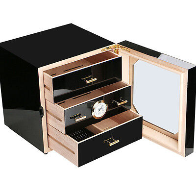 COHIBA Cedar Lined Cigar Cabinet Humidor 3 Drawers Black Gloss Piano Finish