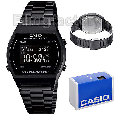 Casio Unisex Retro Illuminator Digital Black Stainless Steel B640WB-1B Watch