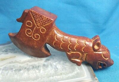 Old Chinese Nephrite Jade Carved Statue Tiger Axe R2504