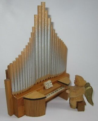 Vtg SCHUMANN German Erzgebirge Wooden Xmas Angel Pipe Organ Music Wood Germany