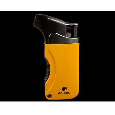 COHIBA Yellow Metal Cigar Cigarette Lighter 2 Punch 1 Torch Jet Flame
