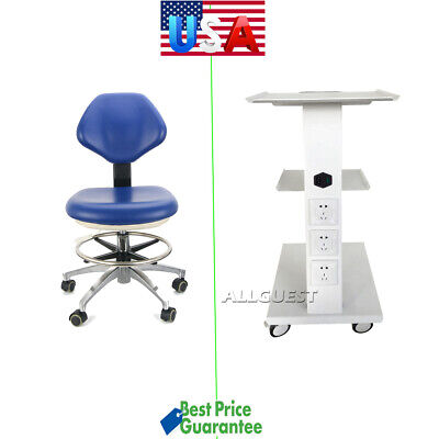 Medical Dental Trolley Built-in Socket Cart/Doctor Stool Adjustable Mobile Chair