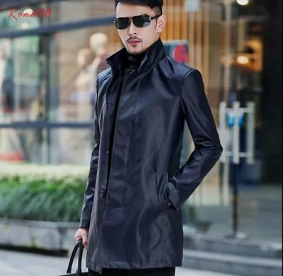 vogue Mens stand collar pu leather casual long slim business Dust Coat tops