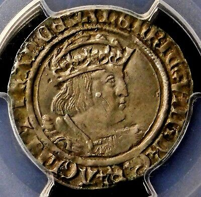 PCGS AU-50. King Henry VIII of England. Groat ca. 1526-44. English Silver Coin.