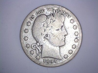X Old Rare 1894 San Francisco Mint Better Date Barber Silver Half Dollar Coin