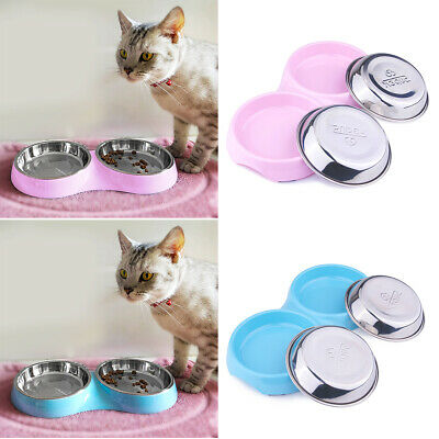 Double Cat Bowls Shallow Stainless Steel Food Water Bowls Non-Skid Dish Feeder