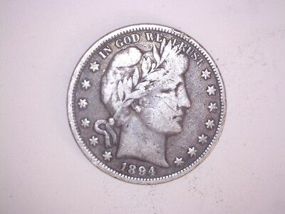X Old Rare 1894 Philadelphia Mint Better Date Barber Silver Half Dollar Coin