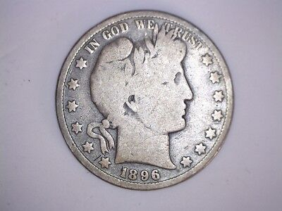 X Old Rare 1896 Philadelphia Mint Better Date Barber Silver Half Dollar Coin