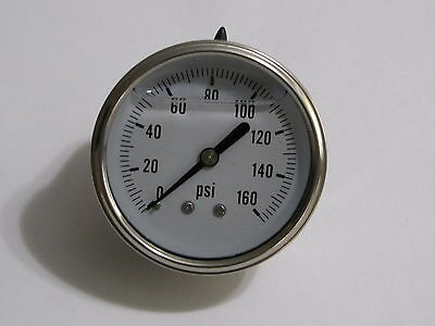 "New Hydraulic Liquid Filled Pressure Gauge 0-160 PSI 1/4"" NPT Center Back Mount"