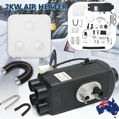 12V 2KW Diesel Air Heater Tank Vent Duct Thermostat Caravan Motor RV W Silencer