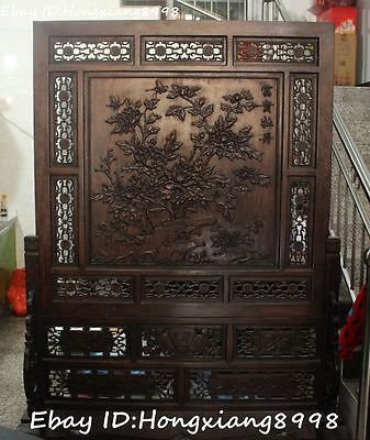 "78"" Huge Chinese Ancient Huanghuali Wood Flower Flowers screen byobu Statue"