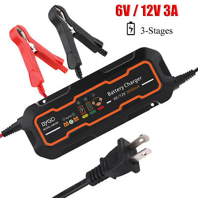 6V/12VAutomatic Electronic Car Battery Charger 3A Fast/Trickle/Pulse Modes 3A UK
