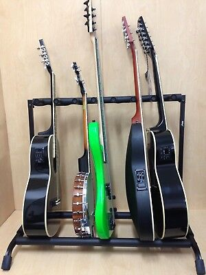 Haze GS014-7 Metal Structure 7-Guitar-Stand/Storage & Display Rack,Foldable,BK