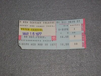 Peter Gabriel Genesis Concert Ticket Stub March 1977 Buffalo NY First Solo Tour