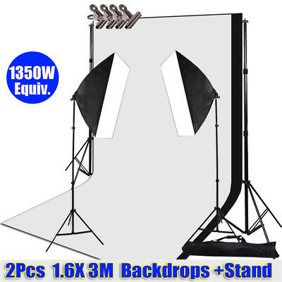 1350W Photo Studio Softbox Continuous Lighting Video Backdrops Support Stand Kit