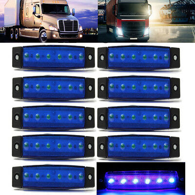 10x Blue 12V 6LED Side Marker Indicators Lights Lamp Bus Van Truck Trailer New