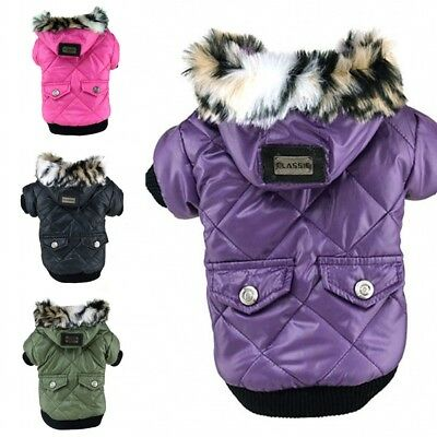UK Pet Dog Cat Clothes Puppy Dog Clothing Winter Warm Coat Hoodie Jacket Apparel