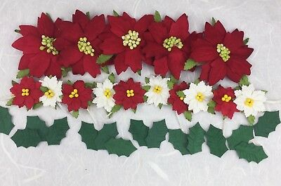 30 Quality Mulberry Paper Christmas Embellishments  Poinsettias and Holly Leaves