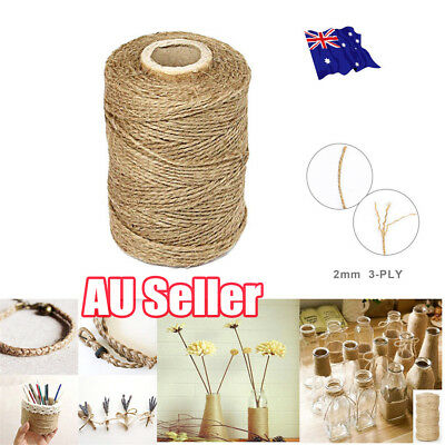 3Ply 100m Natural Brown Soft Jute Rope Twine Sisal String For Art Gift Bottle BK