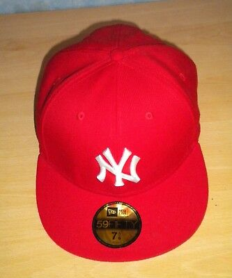 New Era 59Fifty NY New York Yankees MLB Fitted Flat Baseball Cap RED, Size 7 5/8