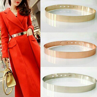 Women Adjustable Metal Waist Belt Metallic Bling Gold Plate Slim Simple Belt