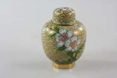 Vintage Chinese Blue Cloisonne Floral Mini Ginger Jar
