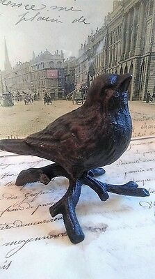 Cast Iron Bird on Branch Looking Straight Home Decor Vintage Style