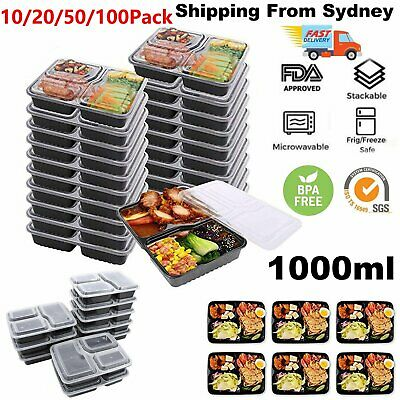 10/100X Meal Prep Plastic Food Storage Containers Freezer Microwavable Lunch Box
